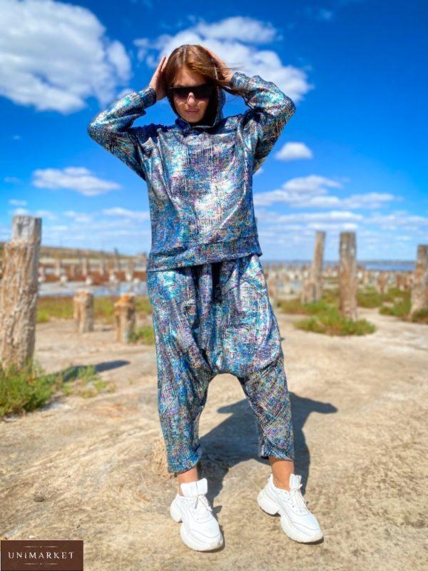 Купить по скидке синий костюм с лазерным напылением (размер 42-56) для женщин