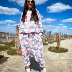 Купити недорого рожевий жіночий костюм йога з принтом (розмір 42-56)