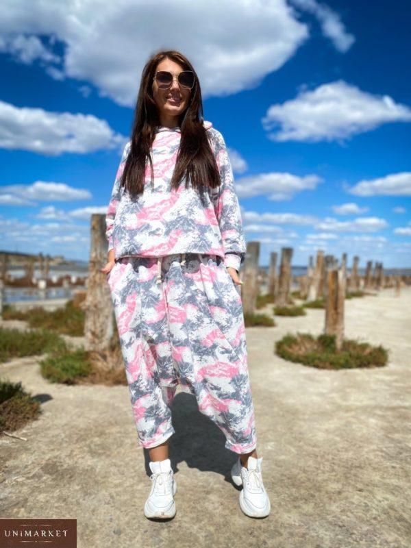 Купить недорого розовый женский костюм йога с принтом (размер 42-56)