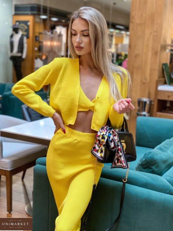Купить по скидке желтый вязаный костюм тройку с юбкой для женщин