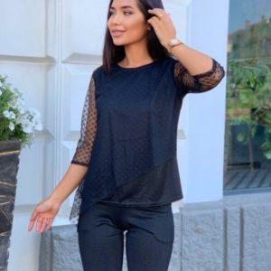 Заказать выгодно черный женский костюм с сеткой и напылением (размер 42-56)