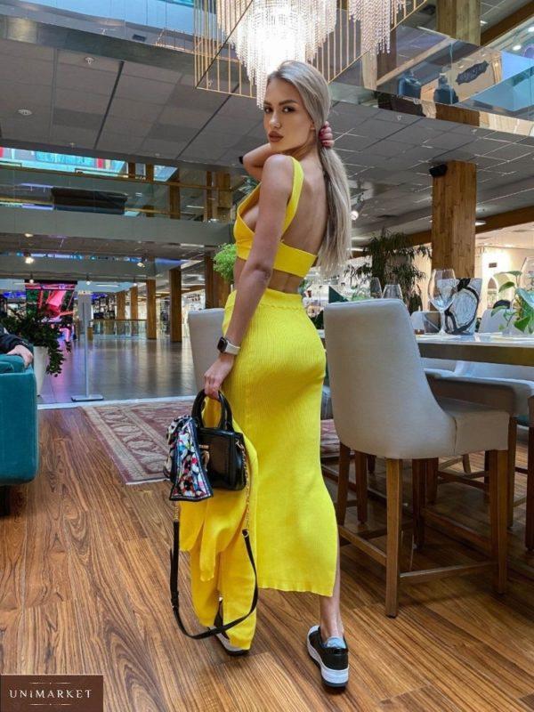 Купить женский вязаный костюм тройку с юбкой желтого цвета онлайн