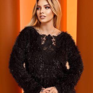 Купить онлайн черный свитер травка с люрексом (размер 48-64) для женщин