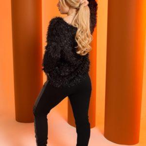 Приобрести черный женский свитер травка с люрексом (размер 48-64) по скидке
