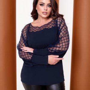 Заказать дешево женскую кофту с прозрачной вставкой (размер 48-64) синюю