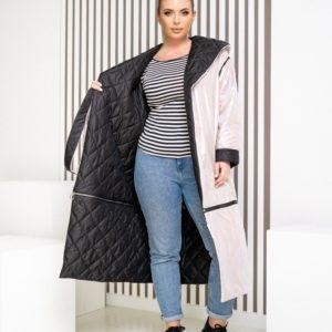 Купить белую женскую двустороннюю куртку трансформер (размер 42-62) недорого
