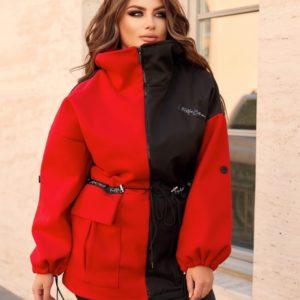 Заказать онлайн красную куртку двухцветную с флисом (размер 48-70) для женщин