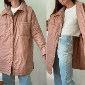 Приобрести беж женскую куртку-рубашку из плащевки (размер 42-52) в Украине