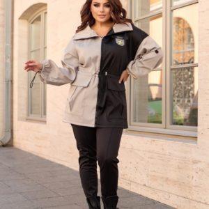 Заказать серую, черную куртку двухцветную с кулиской (размер 48-70) онлайн для женщин