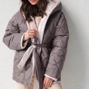 Приобрести мокко женскую двустороннюю куртку с капюшоном (размер 42-58) в Украине
