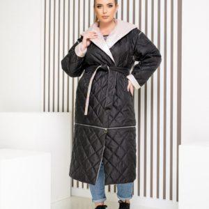 Заказать черную женскую двустороннюю куртку трансформер (размер 42-62) в интернете