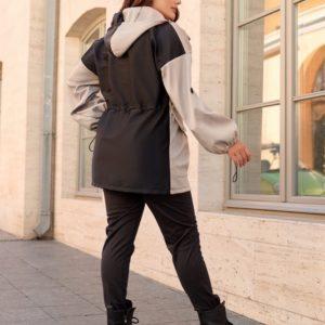 Приобрести черную, серую куртку двухцветную с кулиской (размер 48-70) в интернете для женщин