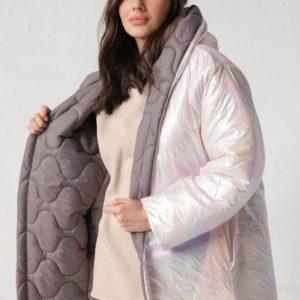 Купить перламутровую двустороннюю куртку с капюшоном (размер 42-58) для женщин онлайн