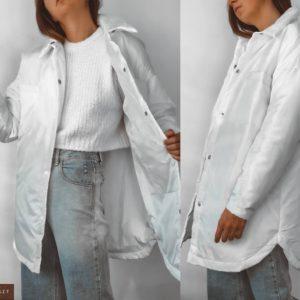 Купить белую женскую куртку-рубашку из плащевки (размер 42-52) в интернете