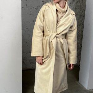 Заказать женское кашемировое пальто с мелким ворсом (размер 42-58) беж дешево