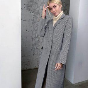 Купити чорно-біле жіноче утеплене пальто в клітку (розмір 42-58) по знижці