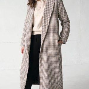Замовити онлайн жіноче утеплене довге пальто (розмір 42-58) бежеве