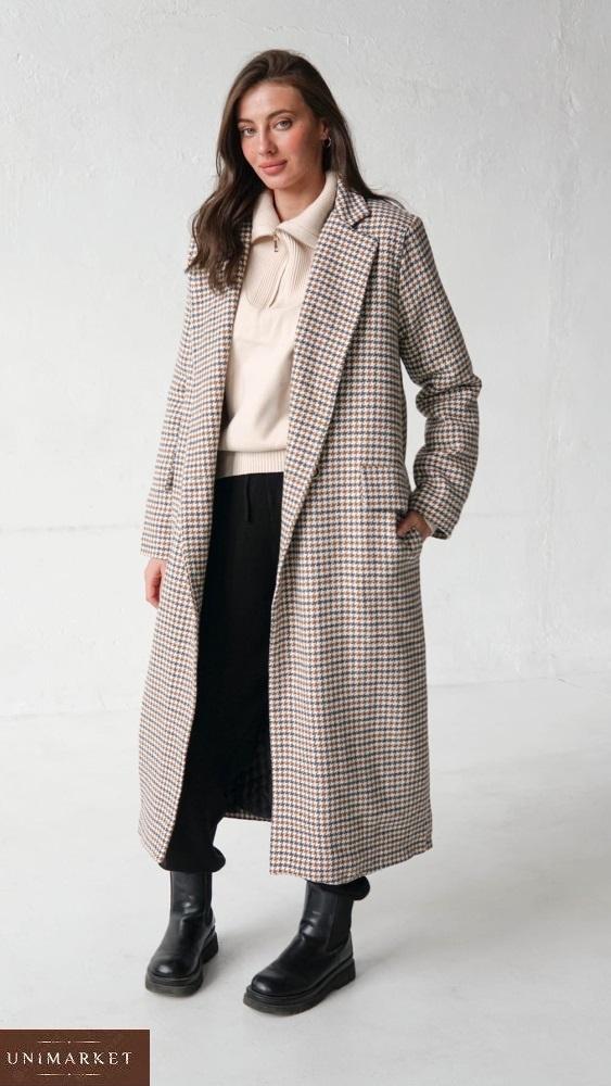 Заказать онлайн женское утепленное длинное пальто (размер 42-58) бежевое