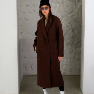 Замовити онлайн коричневе кашемірове пальто з додаванням вовни (розмір 42-52) для жінок