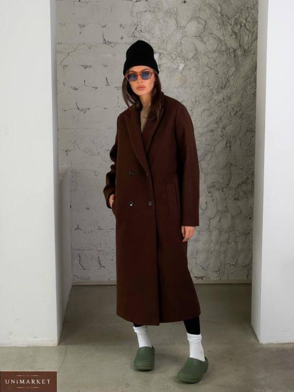 Заказать онлайн коричневое кашемировое пальто с добавлением шерсти (размер 42-52) для женщин
