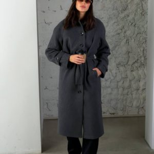 Замовити графіт жіноче кашемірове пальто на ґудзиках (розмір 42-48) по знижці