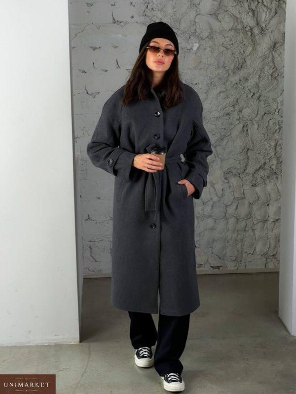 Заказать графит женское кашемировое пальто на пуговицах (размер 42-48) по скидке