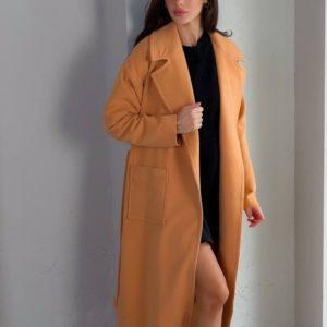 Купити недорого жіноче кашемірове пальто з кишенями (розмір 42-48) беж