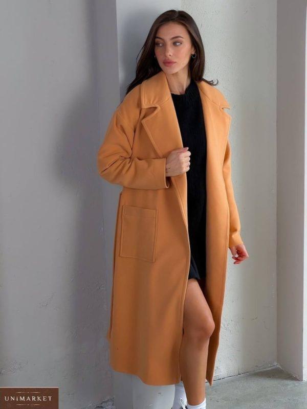 Купить недорого женское кашемировое пальто с карманами (размер 42-48) беж