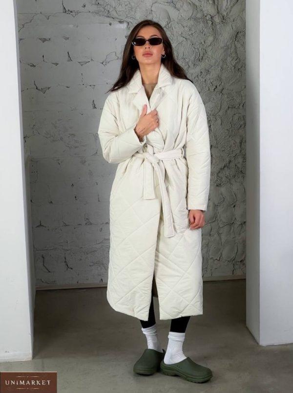 Купить стеганное утепленное пальто (размер 42-48) белое онлайн для женщин