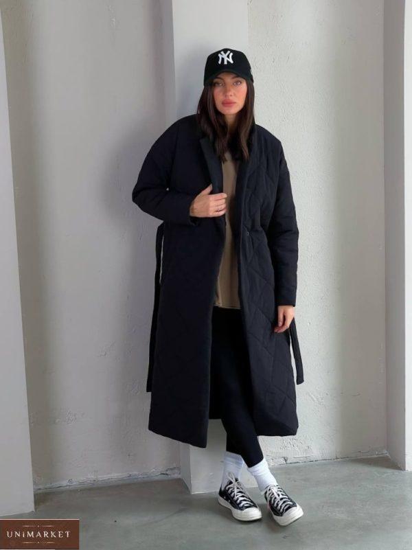 Приобрести черное женское стеганное утепленное пальто (размер 42-48) в интернете