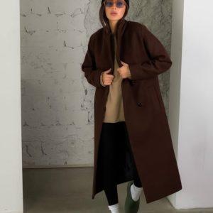 Придбати недорого жіноче кашемірове пальто з додаванням вовни (розмір 42-52) коричневе