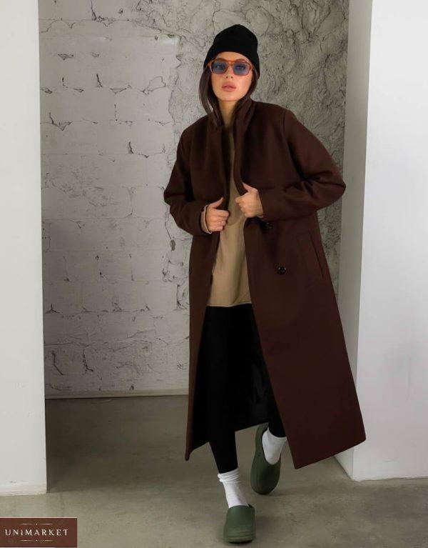 Приобрести недорого женское кашемировое пальто с добавлением шерсти (размер 42-52) коричневое