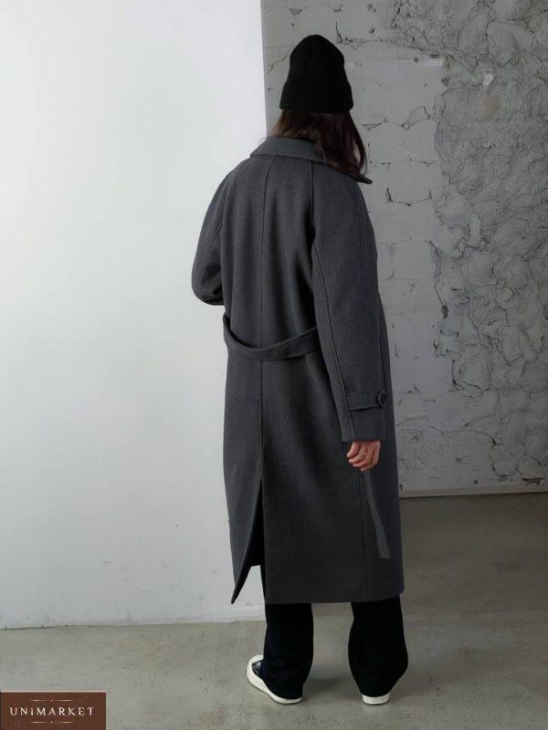 Купить онлайн серое кашемировое пальто на пуговицах (размер 42-48) для женщин