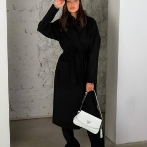 Замовити чорне жіноче кашемірове пальто з кишенями (розмір 42-48) в Україні