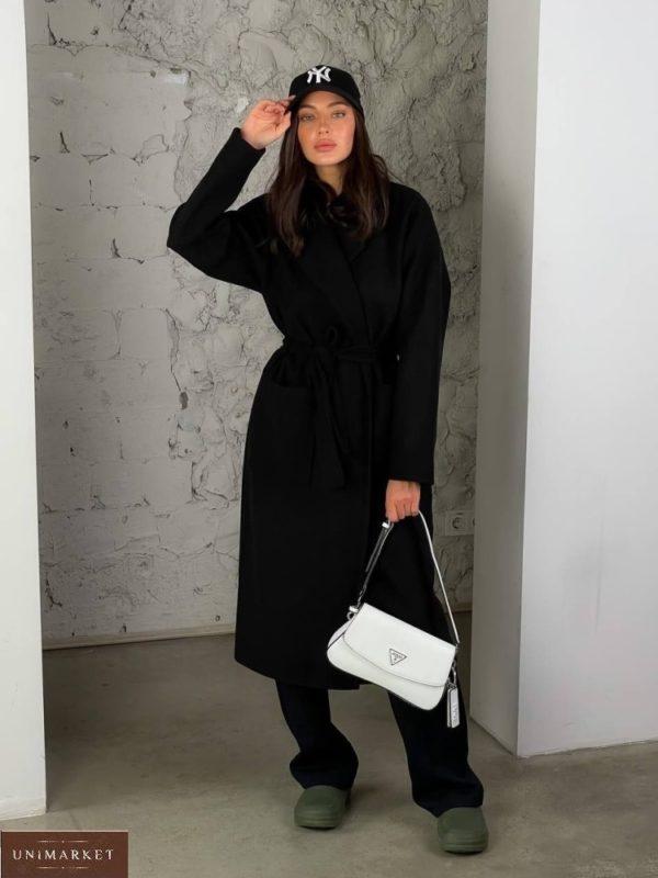 Заказать черное женское кашемировое пальто с карманами (размер 42-48) в Украине