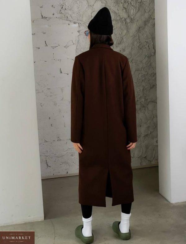 Приобрести дешево женское кашемировое пальто с добавлением шерсти (размер 42-52) коричневого цвета