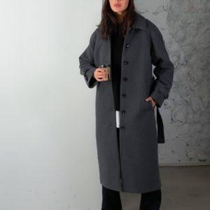 Замовити жіноче кашемірове пальто на ґудзиках (розмір 42-48) сіре онлайн