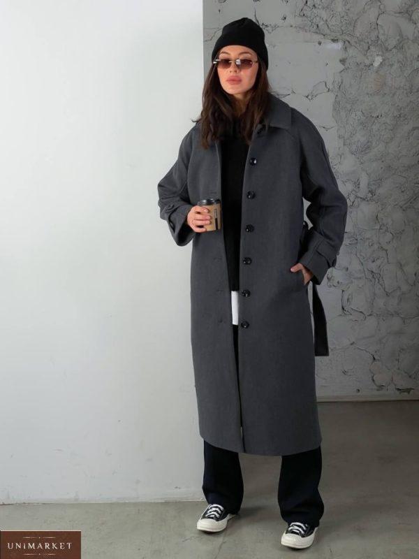 Заказать женское кашемировое пальто на пуговицах (размер 42-48) серое онлайн