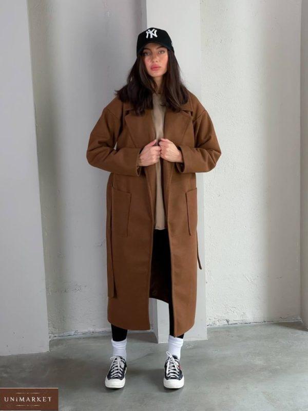 Купить онлайн женское кашемировое пальто с карманами (размер 42-48) коричневого цвета