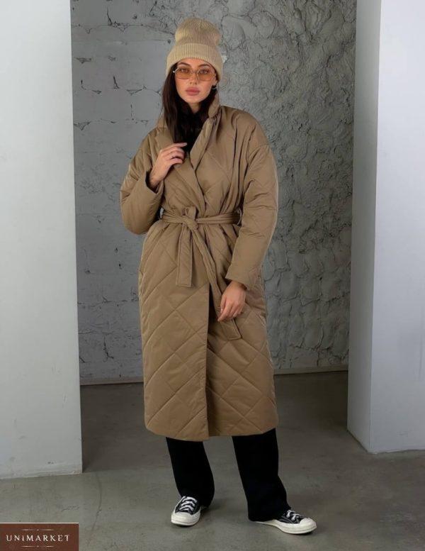 Заказать онлайн мокко стеганное утепленное пальто (размер 42-48) для женщин