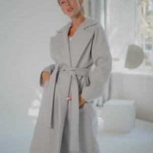 Заказать серое женское кашемировое пальто со стеганной подкладкой (размер 42-58) недорого