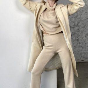 Купить бежевое женское кашемировое пальто с мелким ворсом (размер 42-58) по скидке