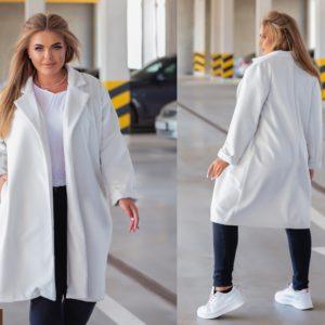 Замовити біле жіноче класичне пальто з еко-кашеміру (розмір 42-52) в інтернеті