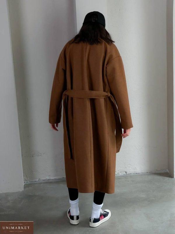 Купить дешево коричневое кашемировое пальто с карманами (размер 42-48) для женщин