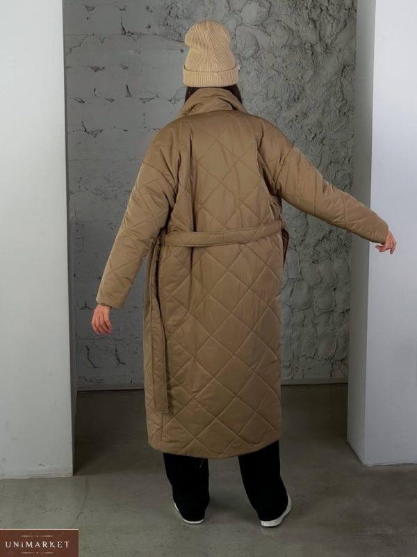 Купить по скидке мокко стеганное утепленное пальто (размер 42-48) для женщин