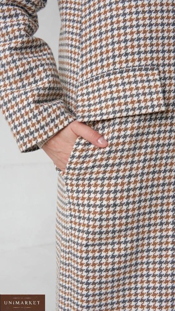 Купить недорого бежевое утепленное длинное пальто (размер 42-58) для женщин