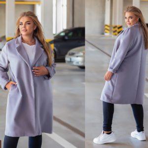 Купити сіре класичне пальто з еко-кашеміру (розмір 42-52) для жінок вигідно