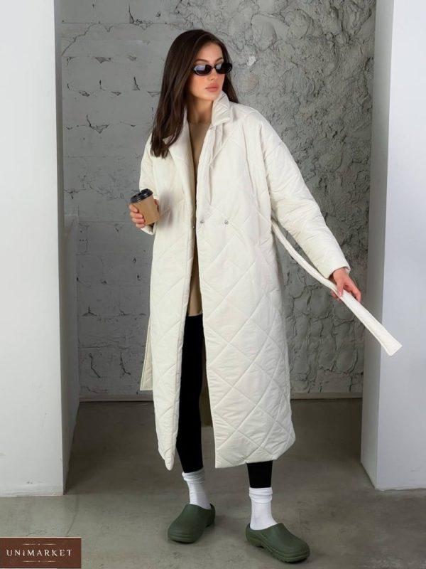 Заказать онлайн женское стеганное утепленное пальто (размер 42-48) белого цвета