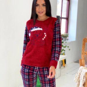Купити червону жіночу плюшеву піжаму в клітку (розмір 42-50) по знижці