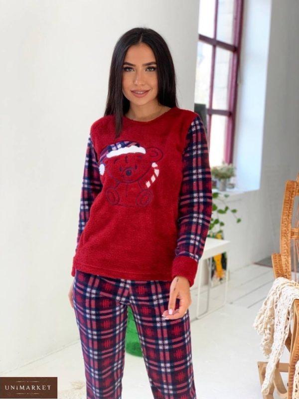 Купить красную женскую плюшевую пижаму в клетку (размер 42-50) по скидке
